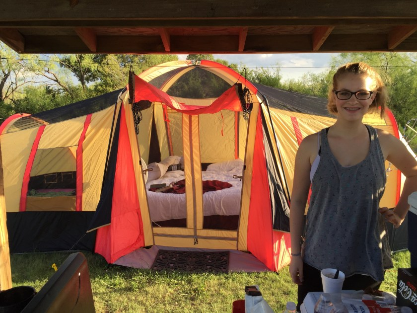 Our sweet home away from home for 5 glorious days at Caprock Canyons State Park. Chloe and I sold everything we could get our hands on from the garage to buy a big 3-room tent and two oscillating fans. It was worth it!