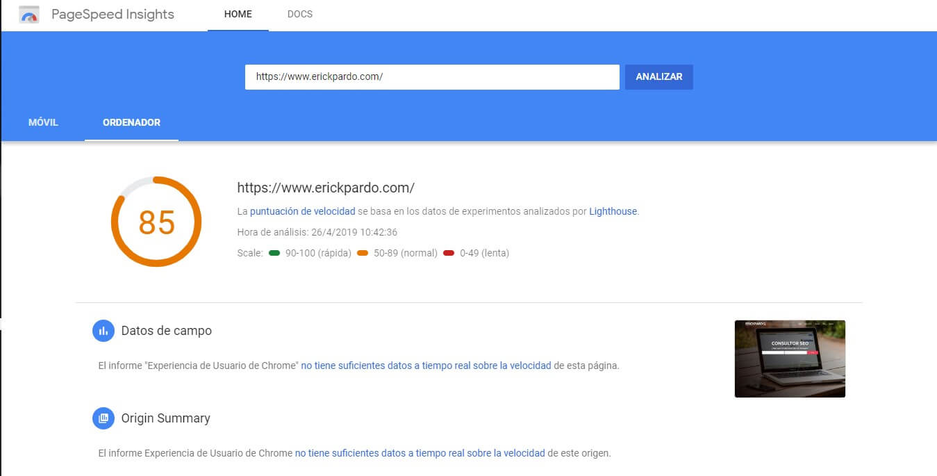 Google Pagespeed Insights Erick Pardo