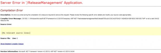 Release Management CS1583 Error