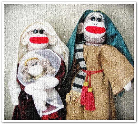 Sock Monkey Nativity - Etsy 4