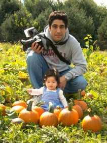 Scarlett at the Pumpkin Patch with Daddy