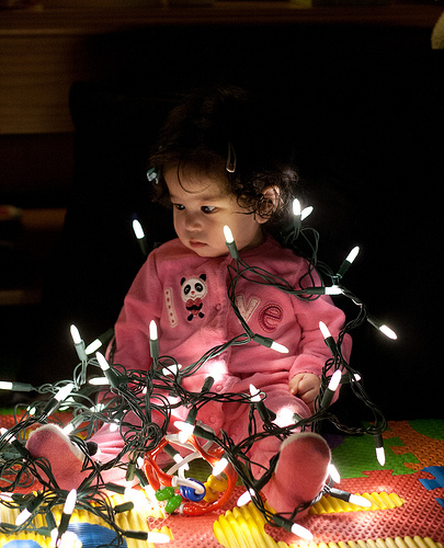 Scarlett and Christmas Lights