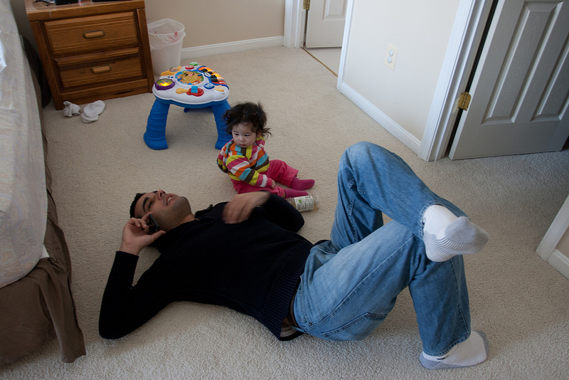 Scarlett watches Tio Daniel talk to Abuela Carmen