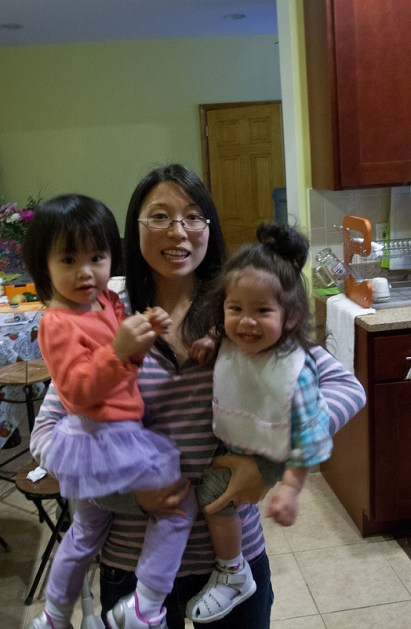 Dina holding Lan and Scarlett