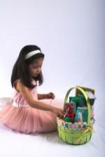 Scarlett explores her Easter basket