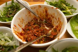 "Following a recipe for Samgyeopsal-gui at http://www.maangchi.com/recipe/samgyeopsal-gui I made the pork belly, Scallion ""salad"" and dressing, and the ssamjang (spicy soybean paste). I also followed a different site's recipe for Seafood pancake sauce. The side dishes (like the Kimchi) were bough pre-made."