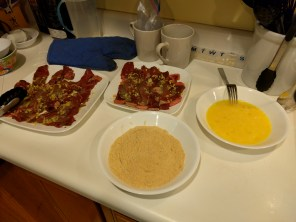 The eggs and breading ready for cooking