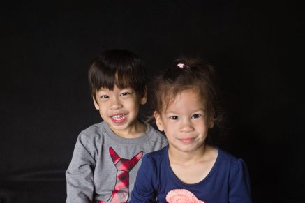 Twin third birthday portraits