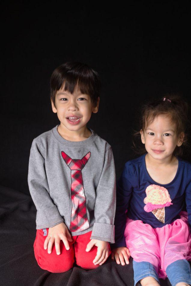 Twin third birthday portraits