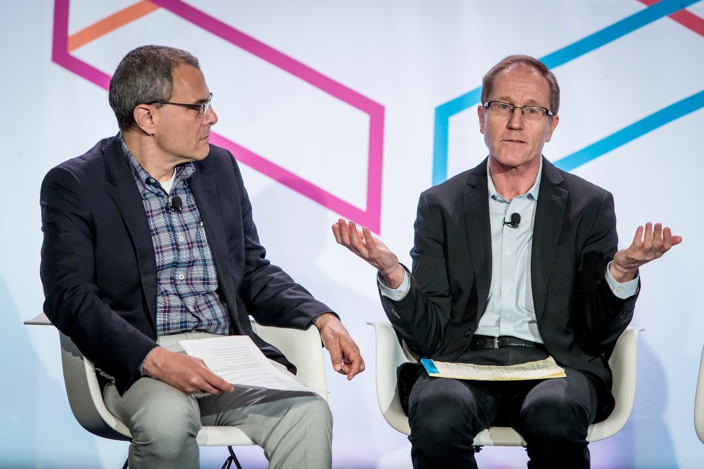 """Steve Lohr, Technology Reporter, Alex MacCallum, Assitant Editor, Michael Zimbalist, SVP, Advertising Products and Research and Development, participate in the """"The New York Times on Big Data and Publishing """" session on the YP Stage on Day 2 of Internet Week New York May 19, 2015. INSIDER IMAGES/Gary He"""