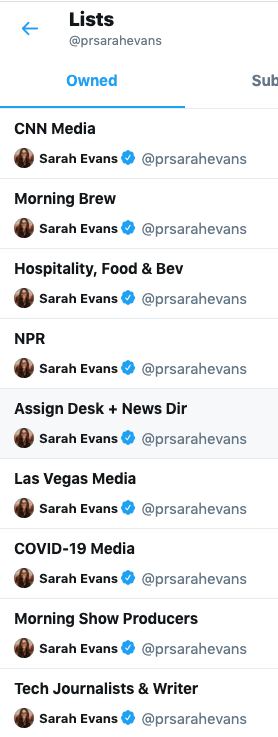 Twitter lists Sarah Evans uses to get press coverage for clients