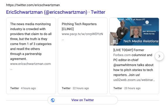 An example of Twitter boxes from my account appearing is SERPs