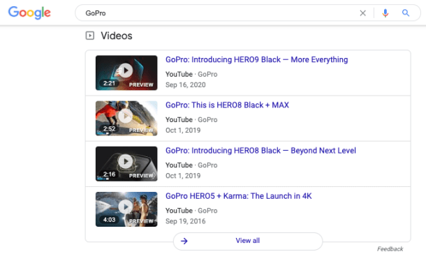 example of brand SERP video carousel search reults for the GoPro camera brand