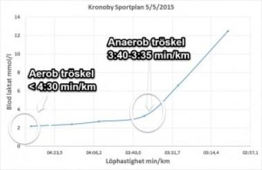 Brytpunkten i laktatkurvan indikerar att min anaeroba tröskel (mjölksyratröskel) är vid 3:35-3:40 min /km. Den aeroba tröskeln ligger under 4:30 min/km