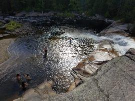 Taking a dip at Little Niagara Falls