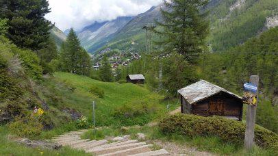 Trail passing through a village