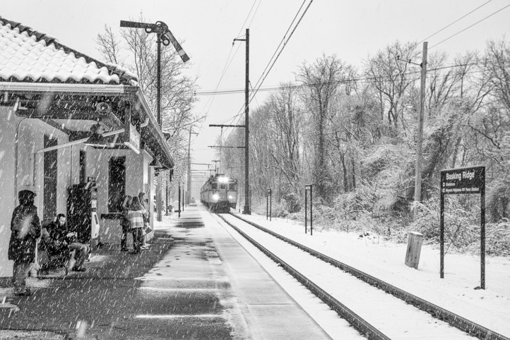 It's been a long and cold wait as the 1:54 is running about 25 minutes late due to the snow. The waiting room is warm and protected, but only open during the morning commute hours.