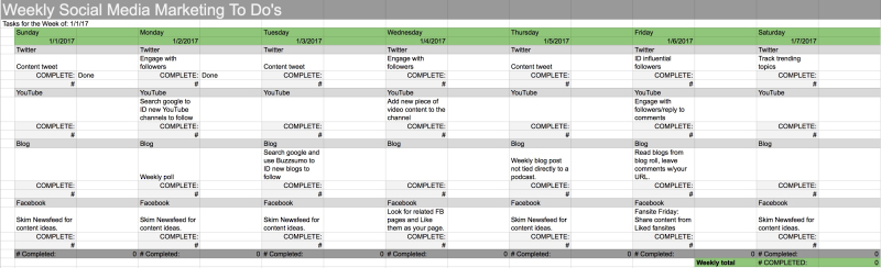 Sample Weekly Social Media Plan