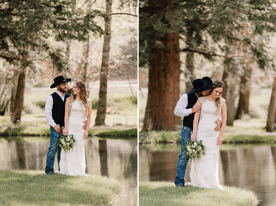 Couple embraces on the island at the Black Canyon inn