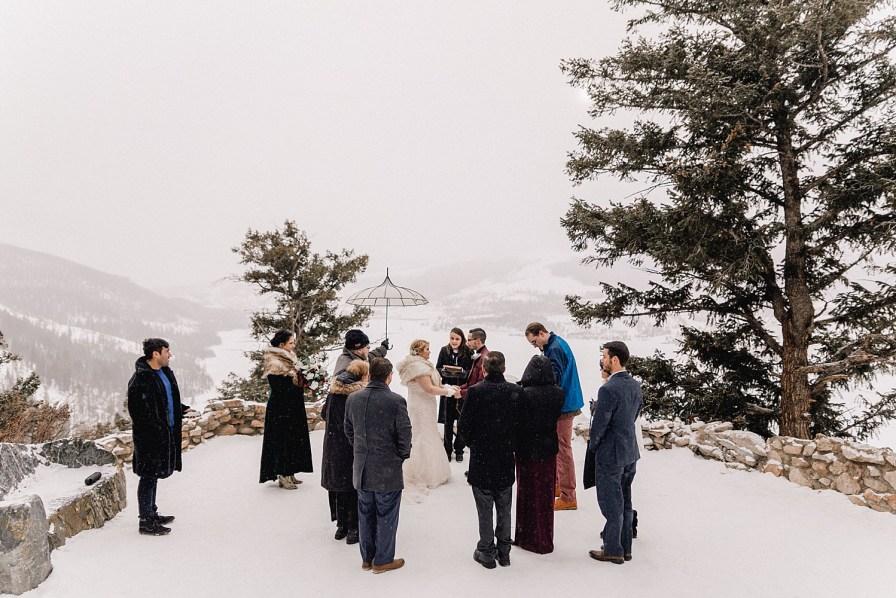 snowy Sapphire Point elopement