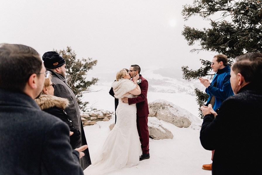 Winter elopement at Sapphire Point