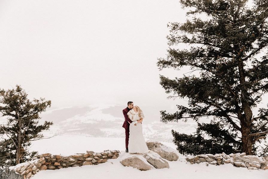Snowy Sapphire Point elopement in December