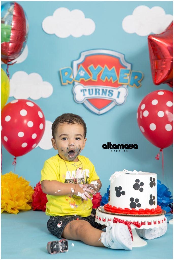 Cake Smash Paw Patrol Birthday Baby Boy Studio Photo