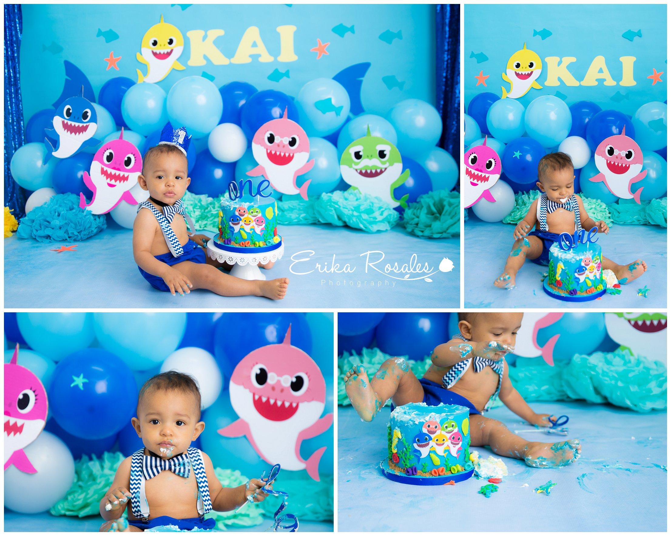 First Birthday Baby Shark Cake Smash Archives Erika
