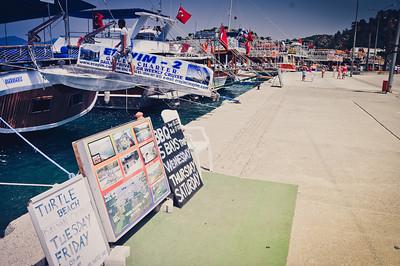 Tour boat row in Marmaris