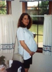 Here's Jody--almost 20 years ago, nine months pregnant with her son (now a sophomore in college!)