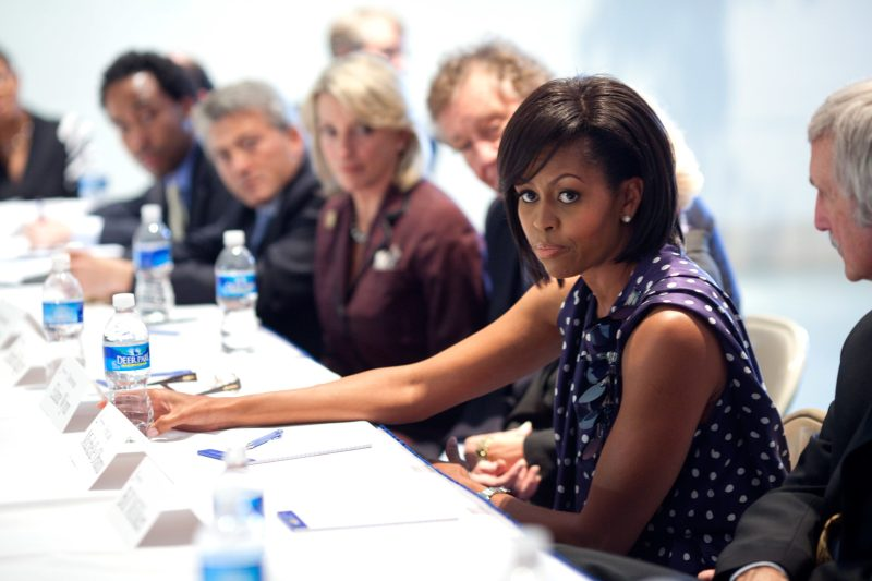michelle obama first lady attends community meeting about schools