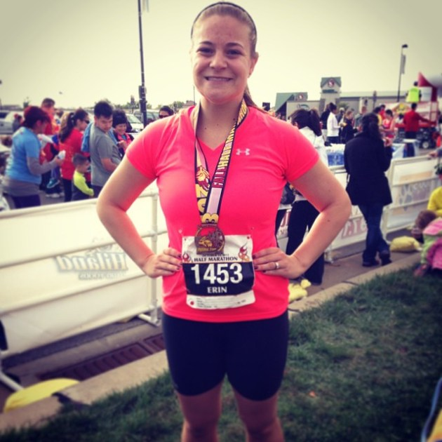 My first half marathon -- October 2013.