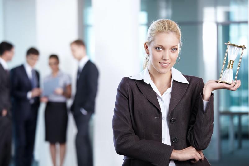 Business woman hourglass