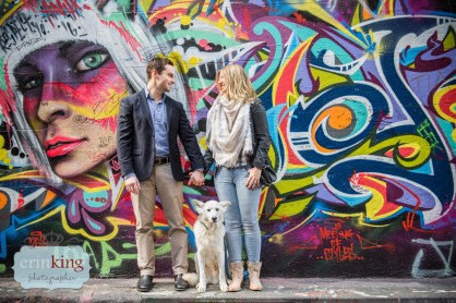 dog with couple in graffiti