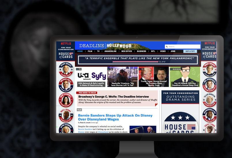 Synchronized takeover ads on Deadline.com