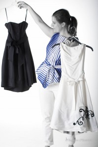 comparing black and white dres