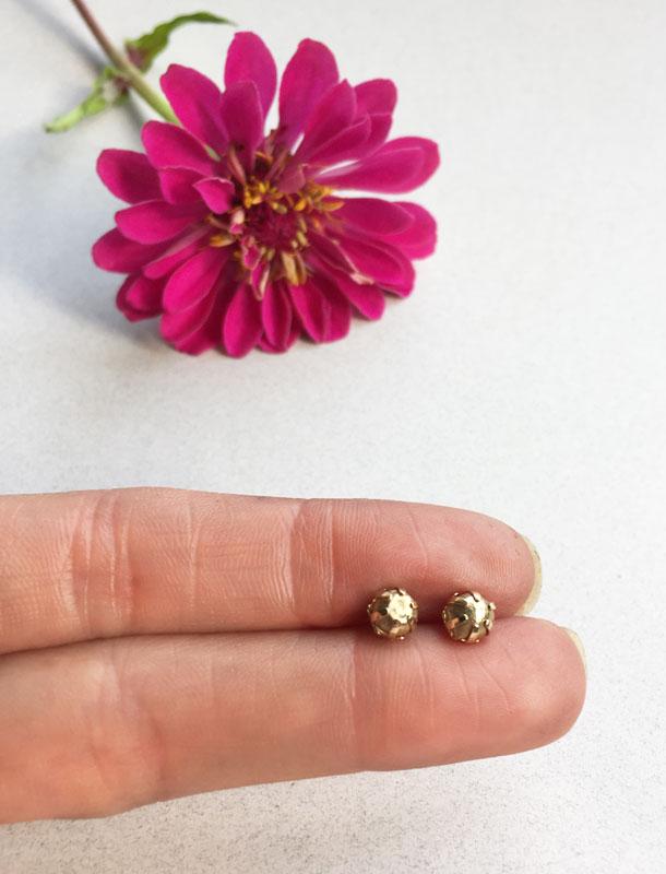 Gold Nugget Stud 14k Fine Gold Earrings