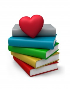 Heart and Books Clip Art