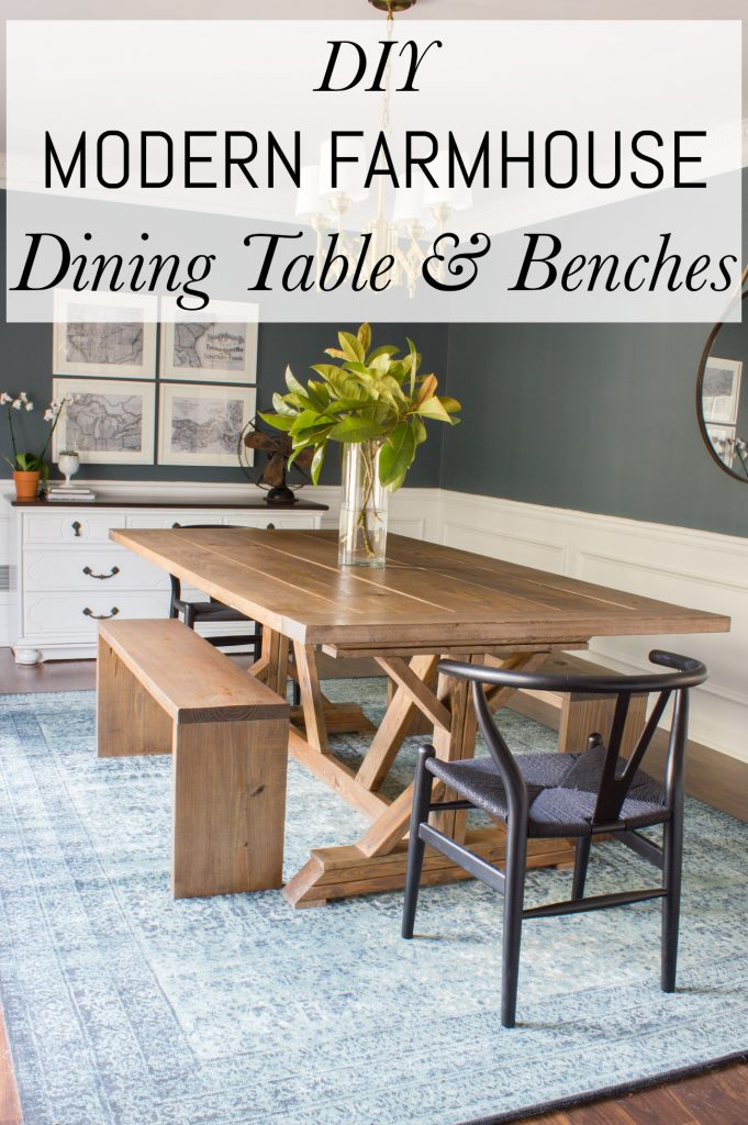Modern Farmhouse Dining Table Amp Benches Erin Spain