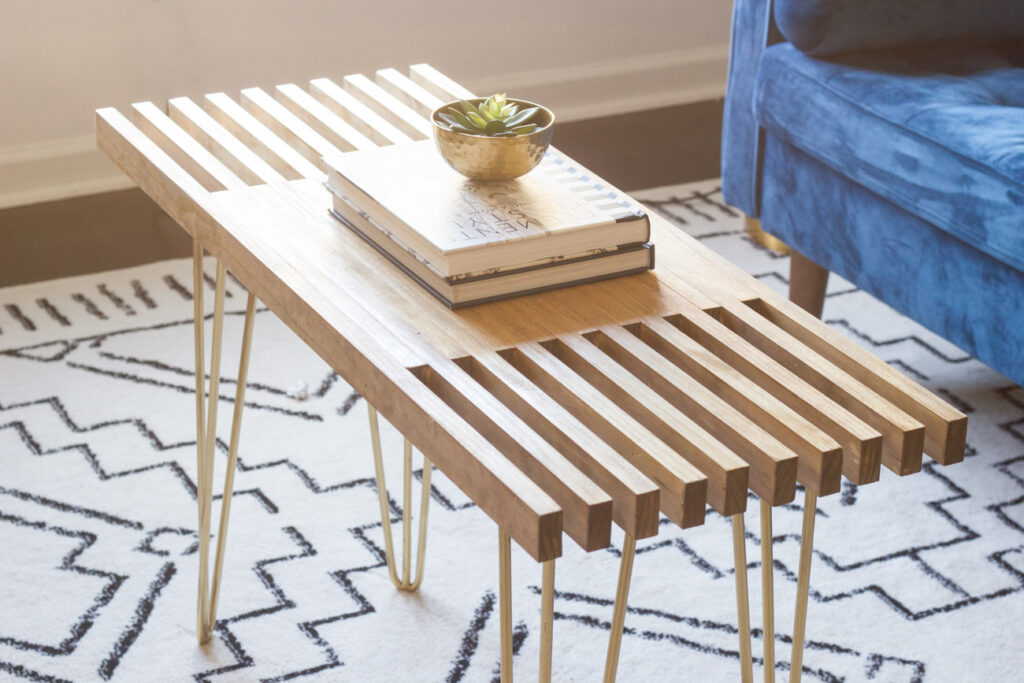 Diy Slatted Coffee Table With Hairpin Legs Erin Spain