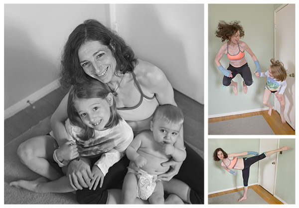 photo collage of erin with her kids and erin exercising