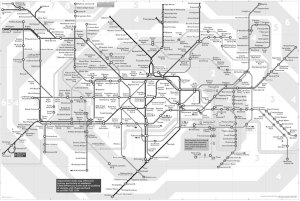 Tube map in grey (Demo purposes only. Of course the Tube provide a high contrast black and white version)