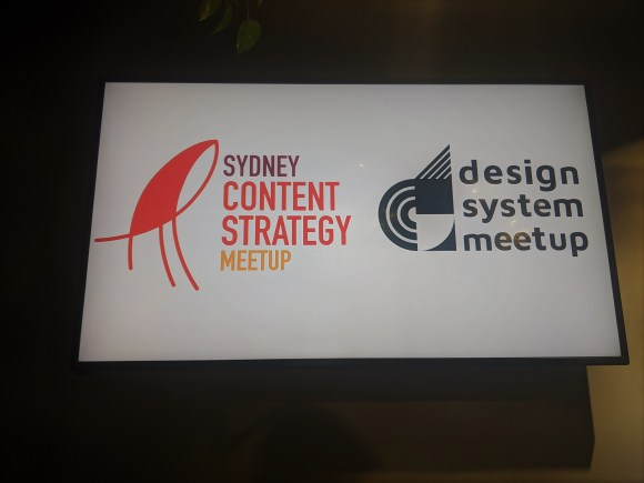 Sydney content strategy and design system meetup welcome slide