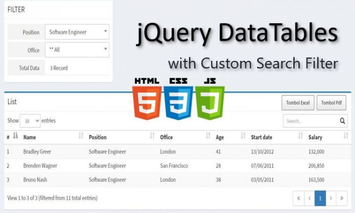 jQuery DataTables with Custom Search Filter