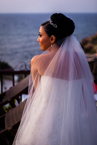 cyprus wedding - romantic bride at sunset