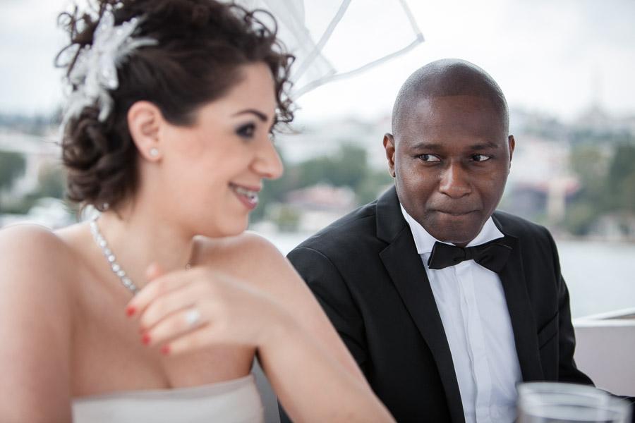 wedding on the bosphorus: bride and groom on boat