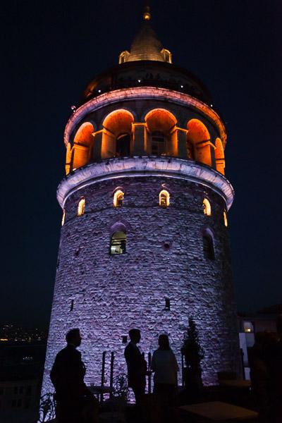 silhouettes against galata tower