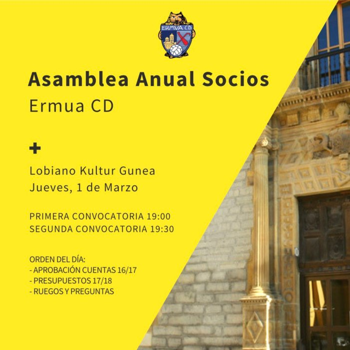 El Ermua C.D convoca a sus socios a la Asamblea Anual