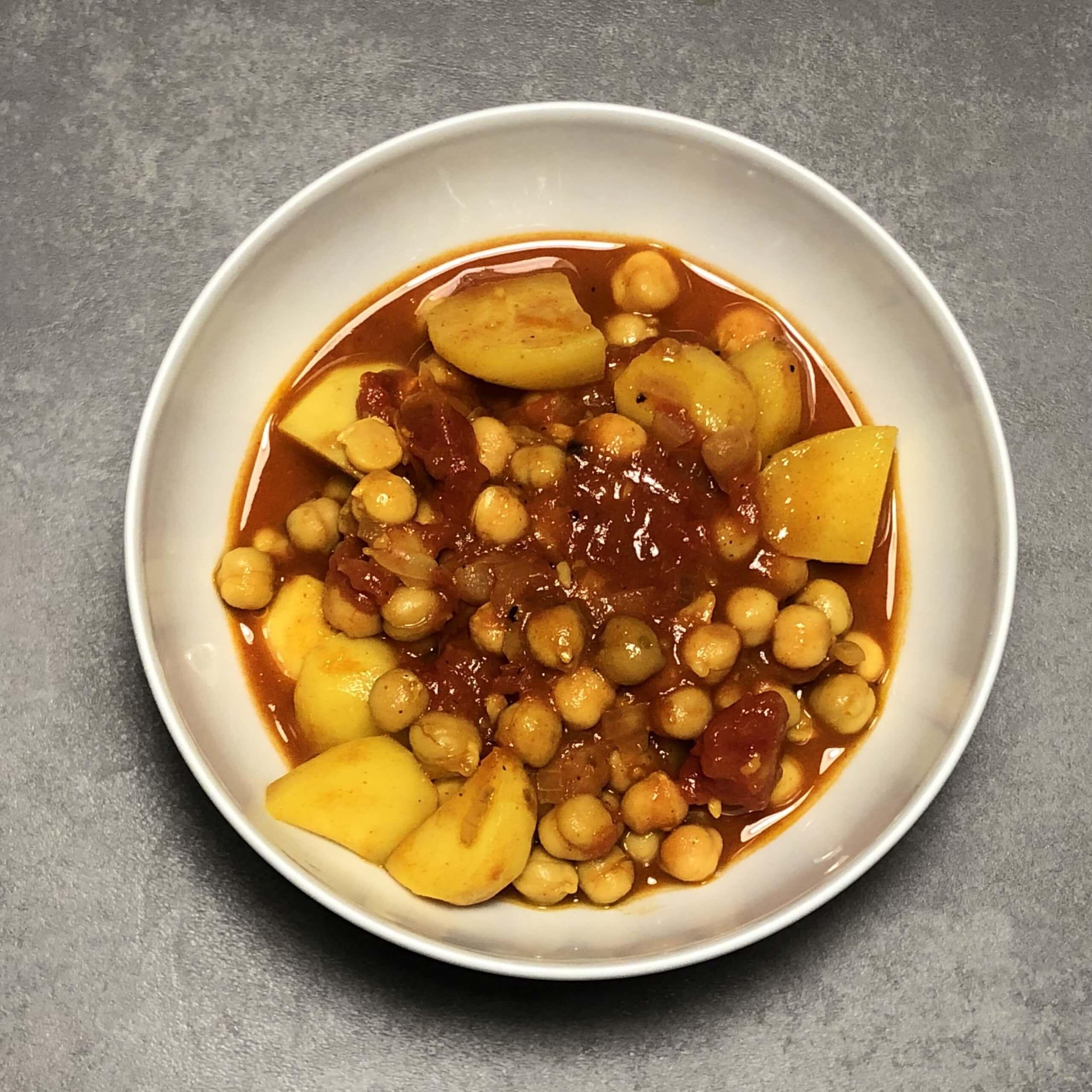 Rezept für Kartoffel-Kichererbse-Curry