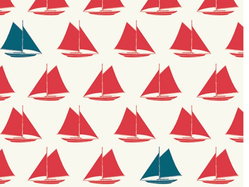 erna&gustav Set Sail Red by Birch Fabrics